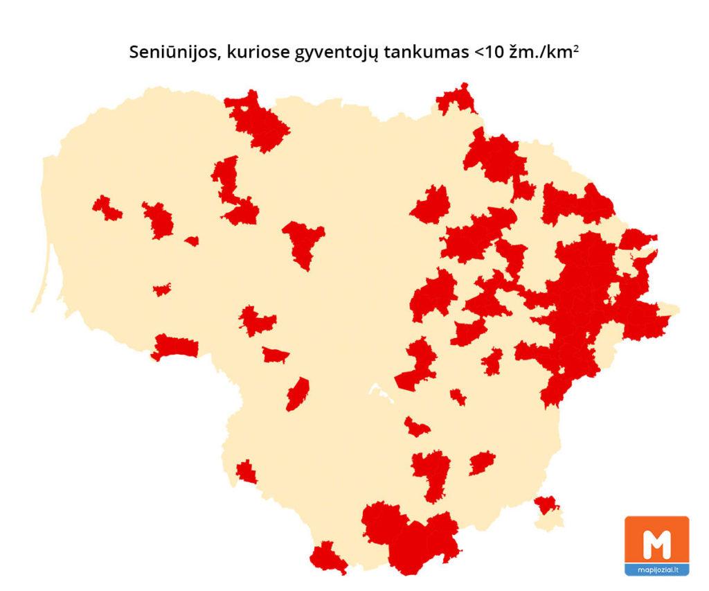 Retai gyvenamos teritorijos Lietuvoje