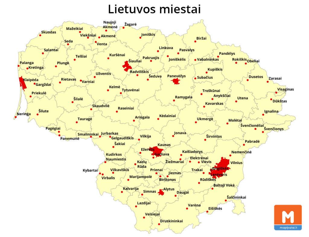 Lietuvos miestai (žemėlapis)