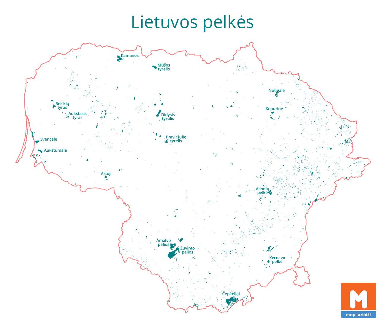 Lietuvos pelkės (žemėlapis) su didžiausių ir vertingiausių pelkių pavadinimais