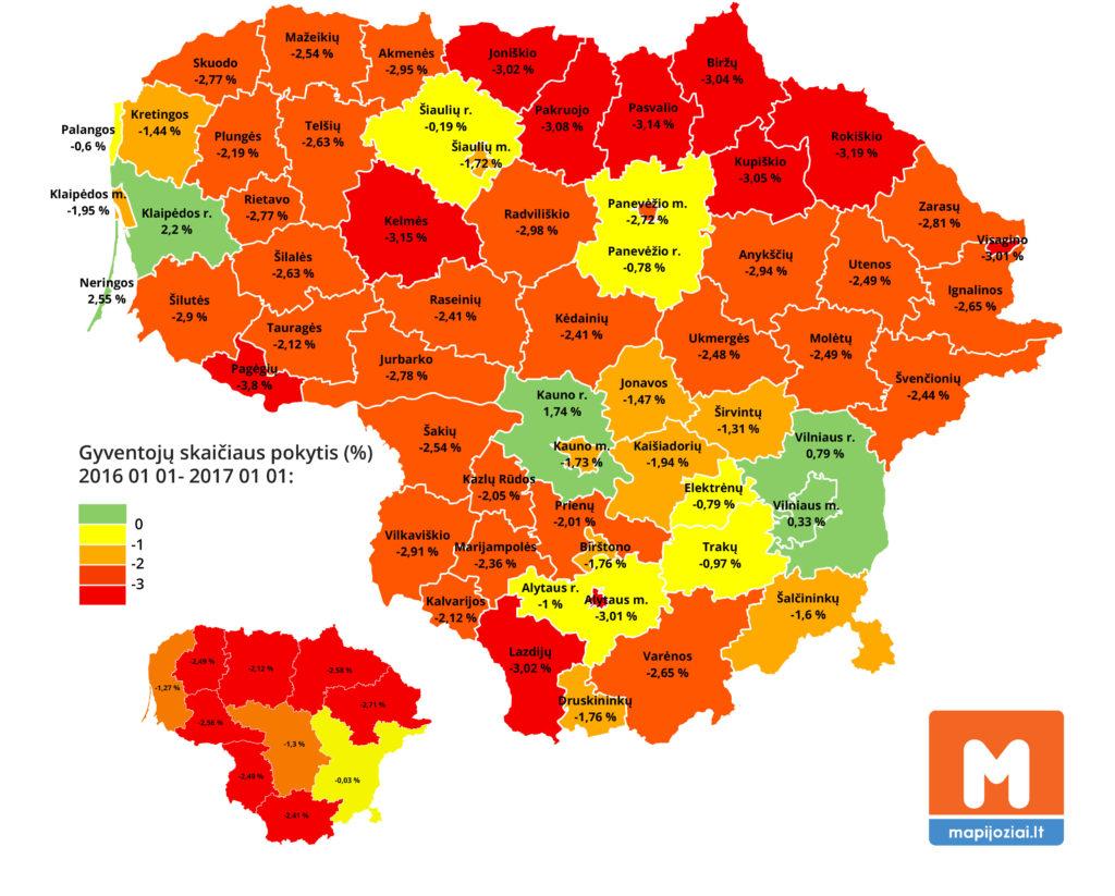Gyventojų skaičius savivaldybėse 2017 m.