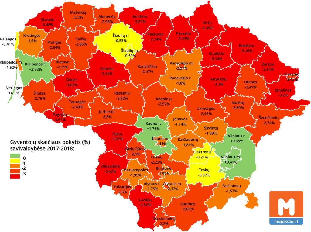 Gyventojų skaičius savivaldybėse 2018 m.