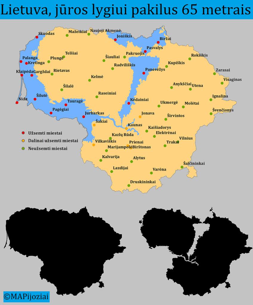 Kaip atrodytų Lietuva, jūros lygiui pakilus 65 metrais?