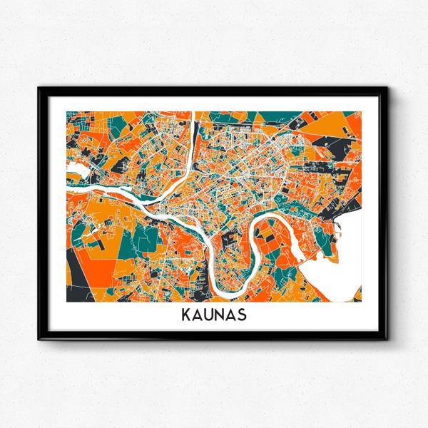 Kauno žemėlapis (Spalvotas)