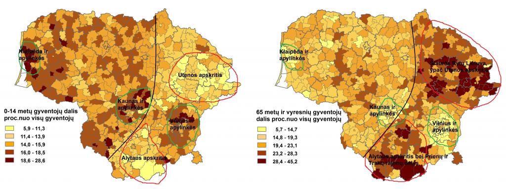 Vaikų ir pensinio amžiaus gyventojų palyginimas
