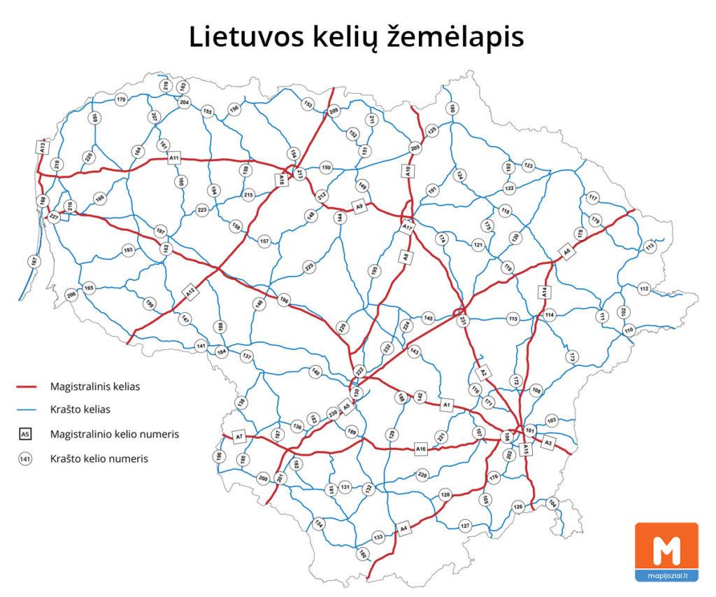 Lietuvos kelių žemėlapis