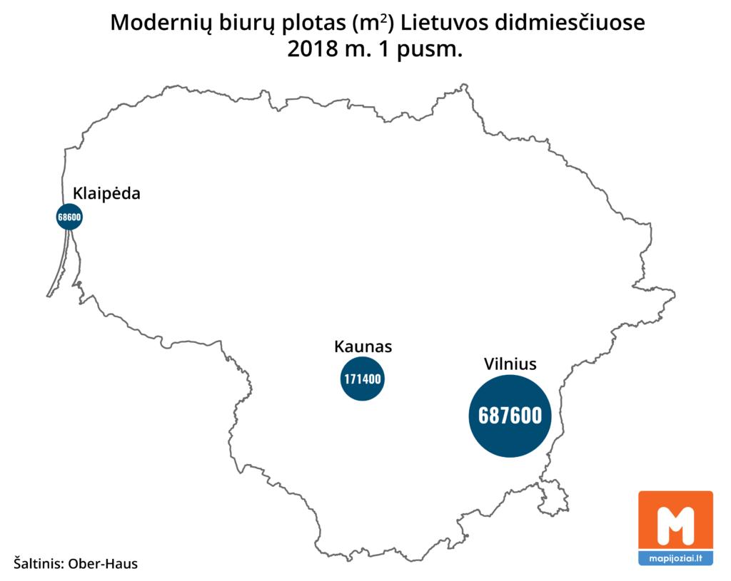 Biurų plotas Lietuvos miestuose