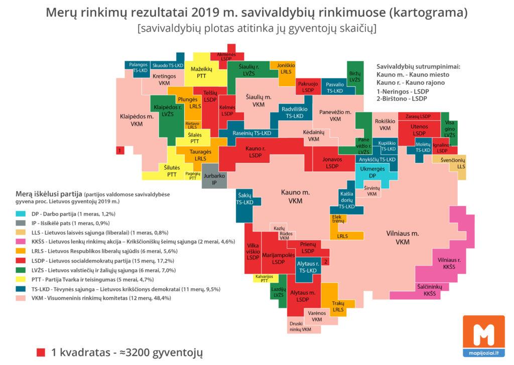 2019 merų rinkimai (kartograma)