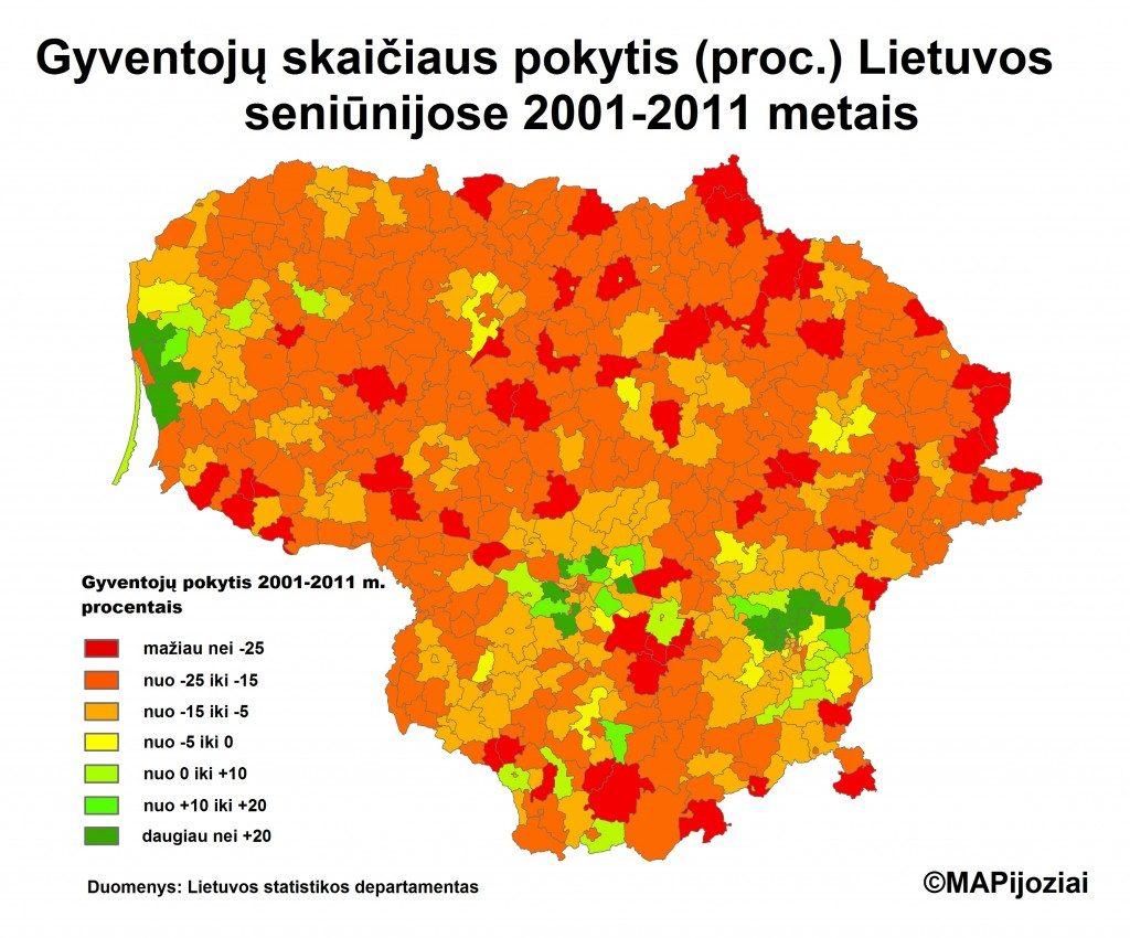 Gyventojų skaičiaus pokytis Lietuvos seniūnijose