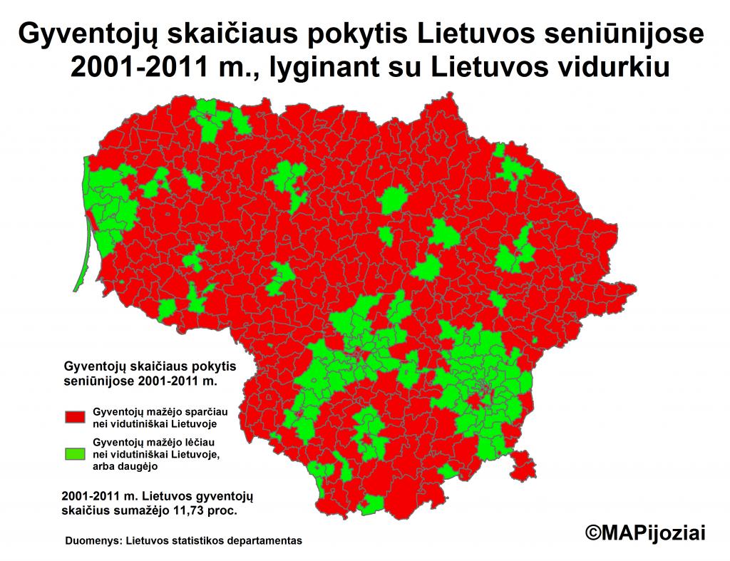 Gyventojų skaičiaus pokytis Lietuvos seniūnijose 2001-2011 m.