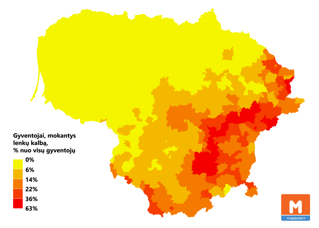 Mokantys lenkų kalbą gyventojai