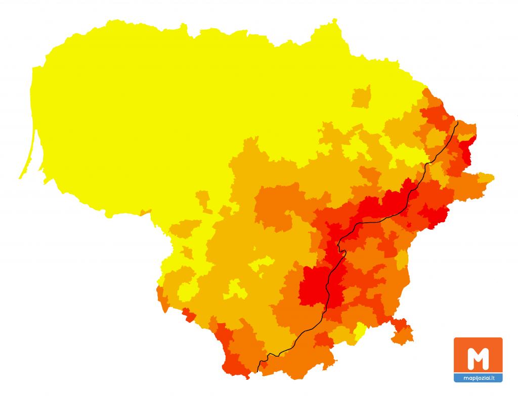 Mokantys lenkų kalbą gyventojai vs. 1923 m. siena