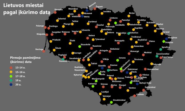 Kada įkurti Lietuvos miestai
