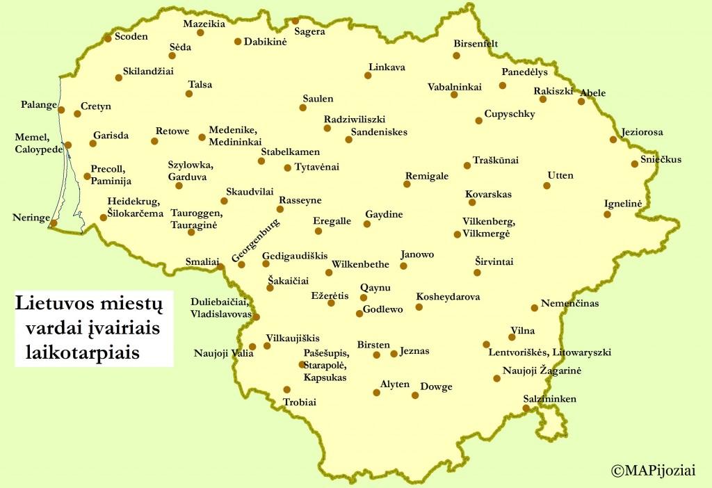 Lietuvos miestų senieji pavadinimai