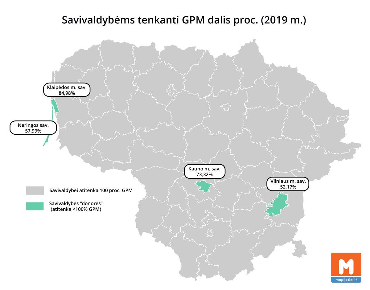 Savivaldybėms tenkanti GPM dalis 2019 m.